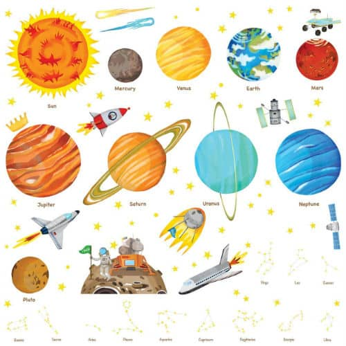 DECOWALL DA-1501- The Solar System Kids Wall Stickers