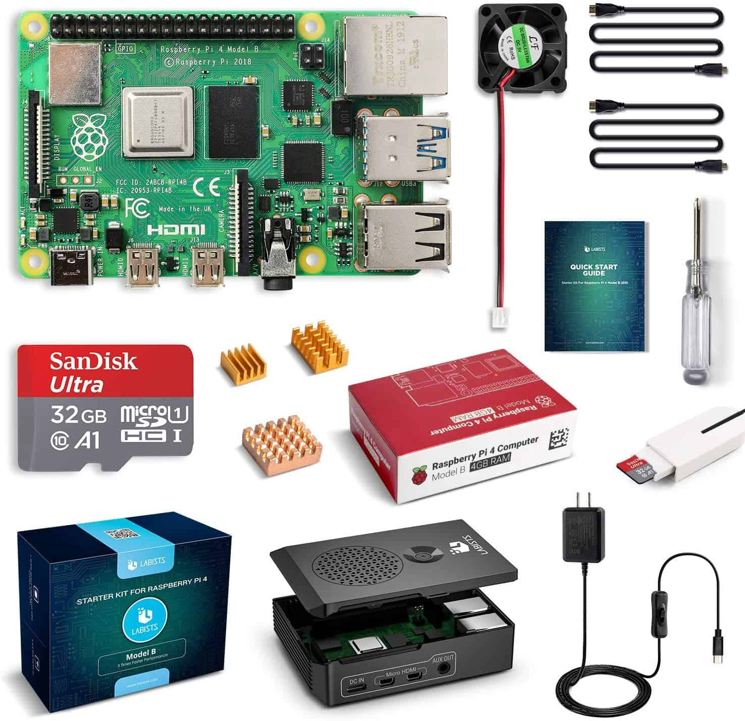 LABISTS Raspberry Pi 4 Complete Starter Kit