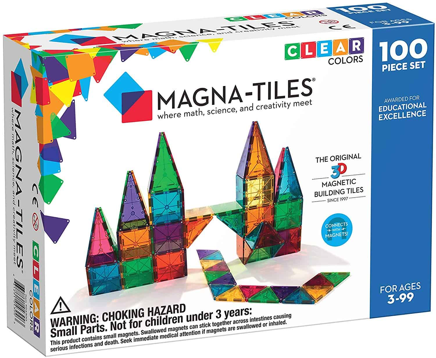 Magna-Tiles Clear Colors 100 Piece Set