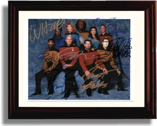 Framed Cast of Star Trek the Next Generation Autograph Replica Print
