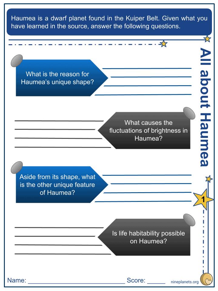 Haumea Worksheets (3)