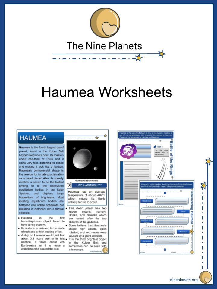 Sample of Haumea Worksheets