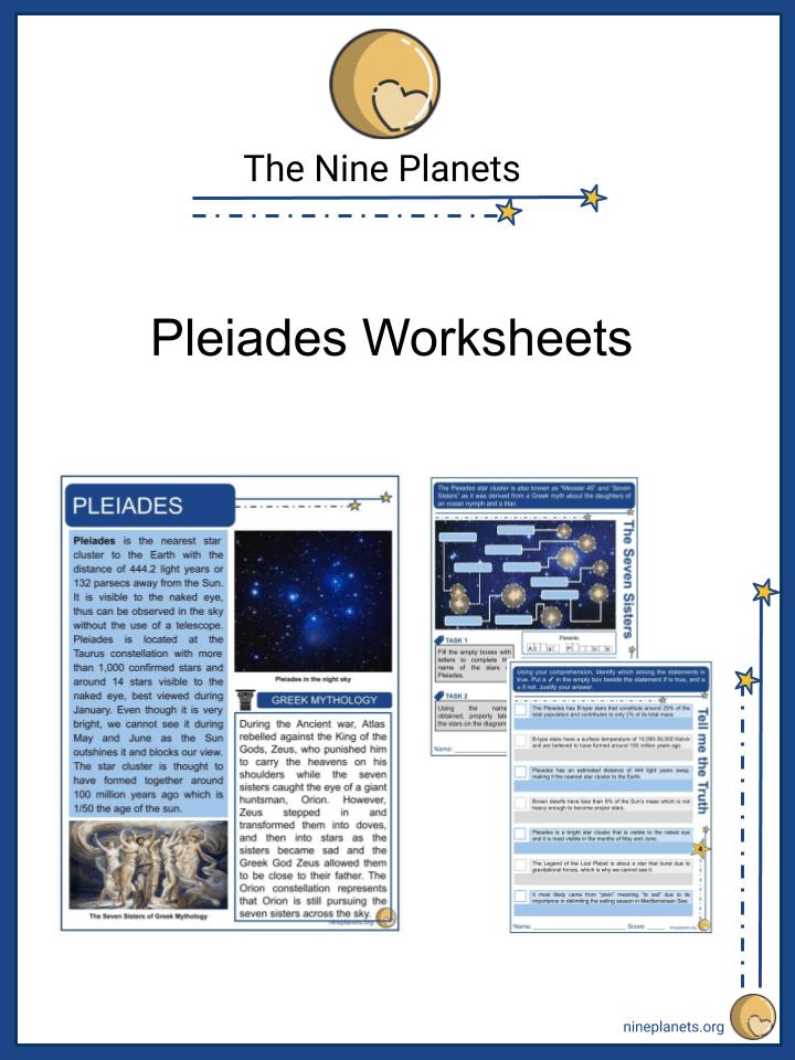 Sample of Pleiades Worksheets