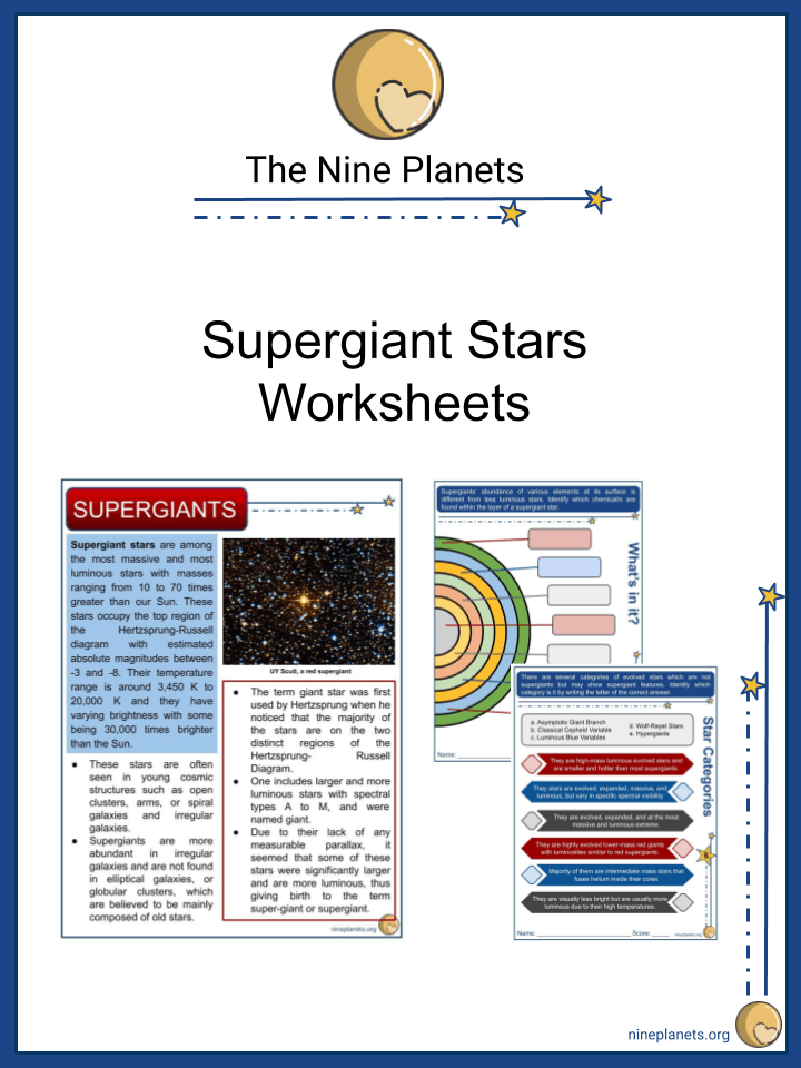 Sample of Supergiant Stars Worksheets
