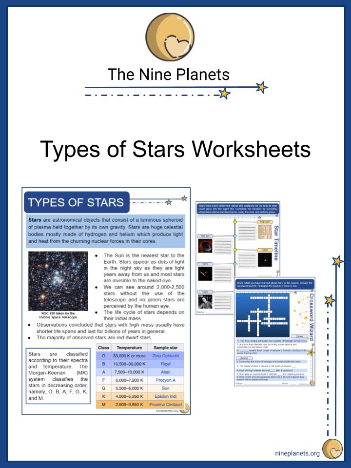 Sample of Type of Stars Worksheets