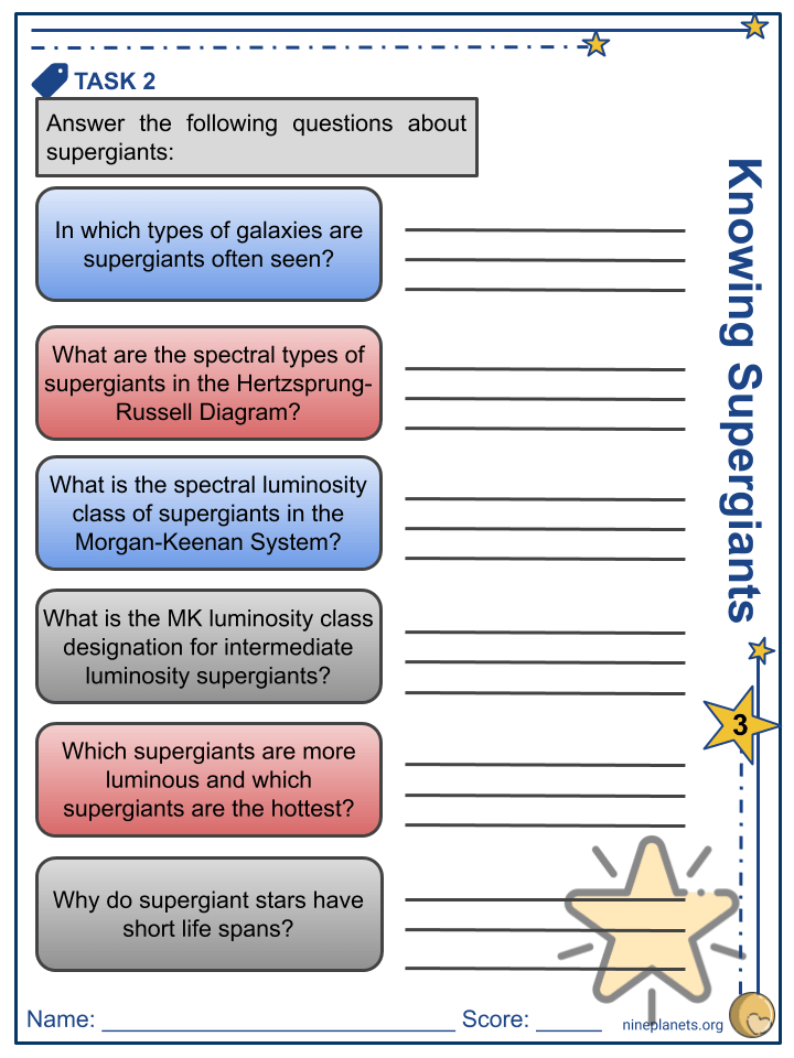 Supergiant Stars Worksheets (6)