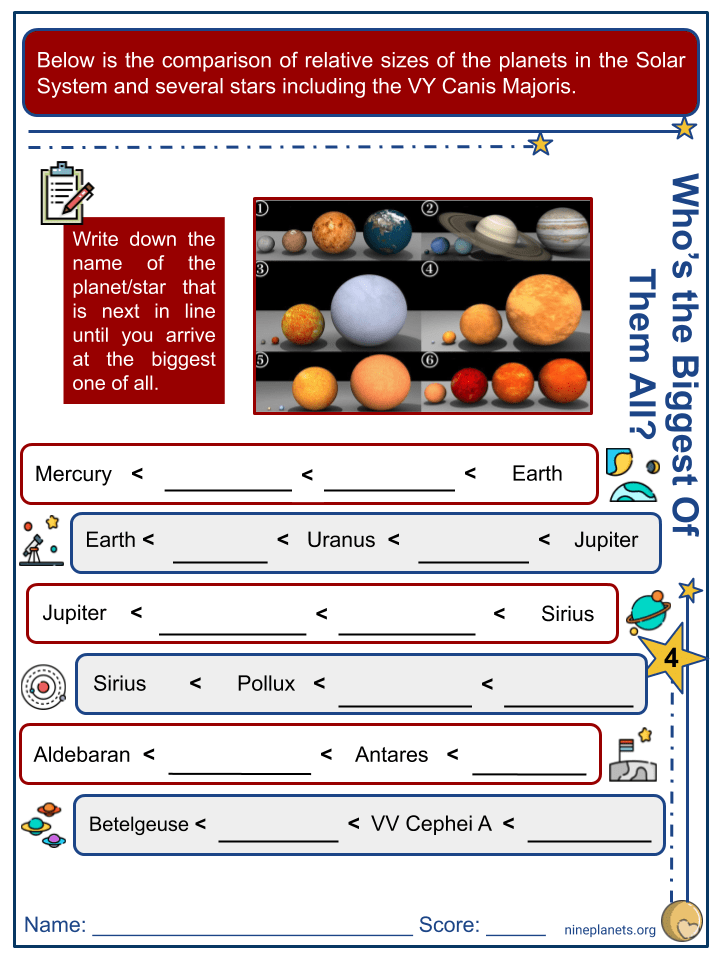 VY Canis Majoris Worksheets (8)