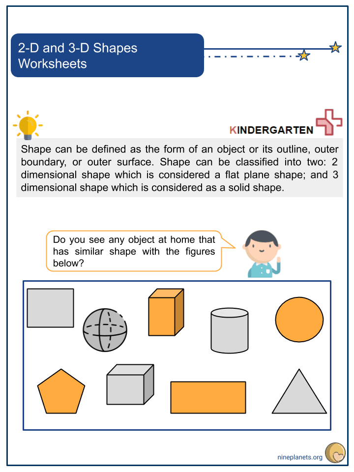 2-D and 3-D Shapes Worksheets (1)