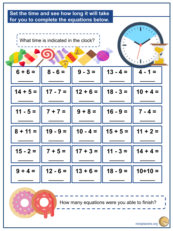 Addition and Subtraction of Numbers within 20 (3)
