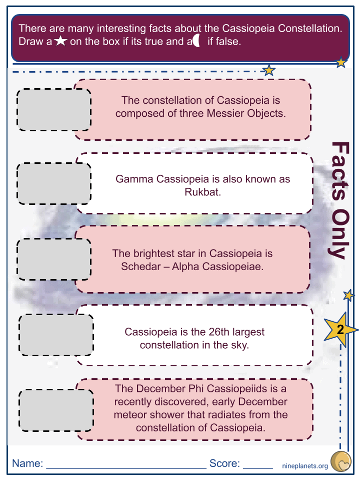 Cassiopeia Constellation Worksheets (3)