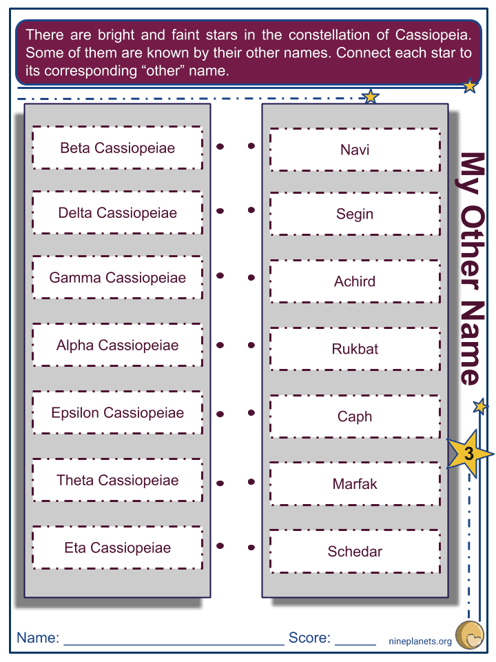 Cassiopeia Constellation Worksheets (4)