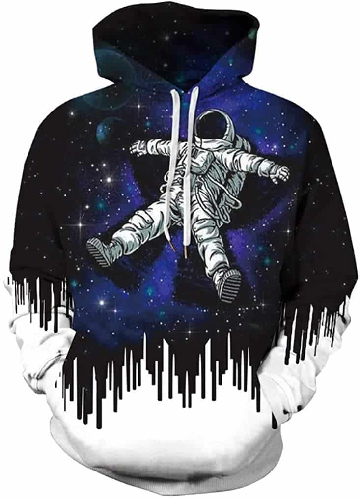 FLYCHEN Men 3D Printed NASA Hooded Pullover