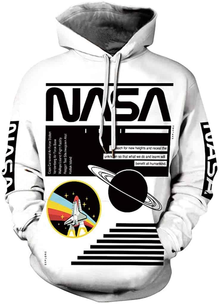 FLYCHEN Men 3D Printed NASA Hoodies