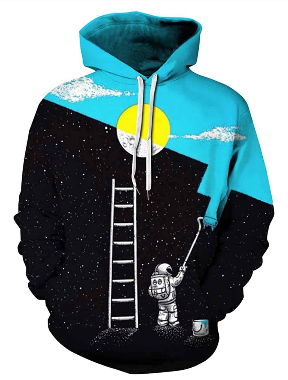 GLUDEAR Men's Novelty 3D Print Pullover Hoodie Hooded Sweatshirt