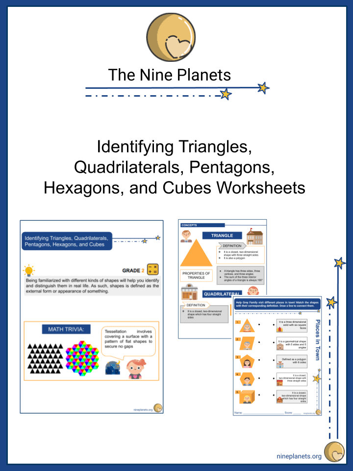 Identifying Triangles, Quadrilaterals, Pentagons, Hexagons, and Cubes