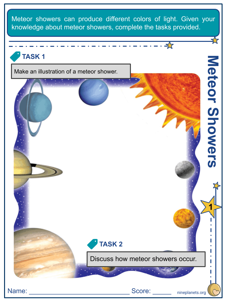 Meteor Shower Worksheets (2)
