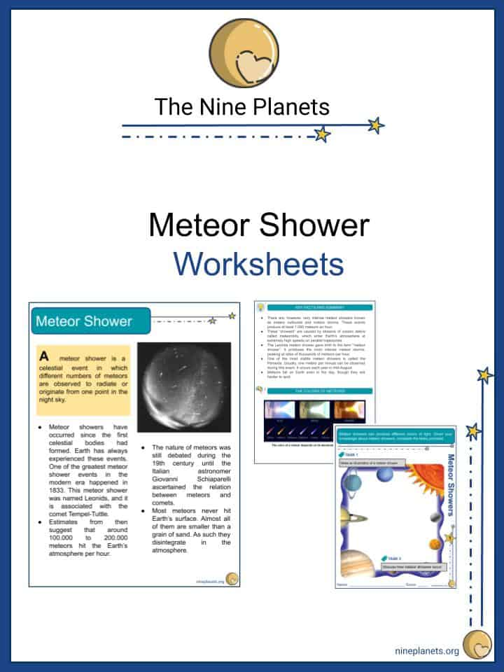 Meteor Shower Worksheets