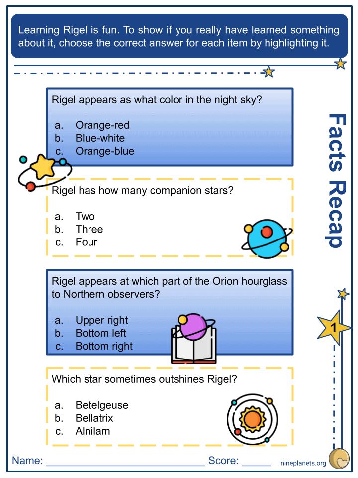 Rigel (ẞ Orionis) Worksheets (1)
