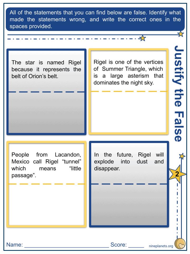 Rigel (ẞ Orionis) Worksheets (3)