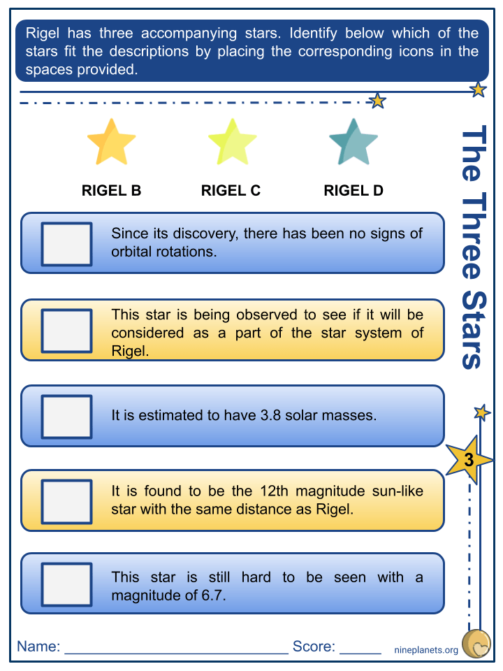 Rigel (ẞ Orionis) Worksheets (4)
