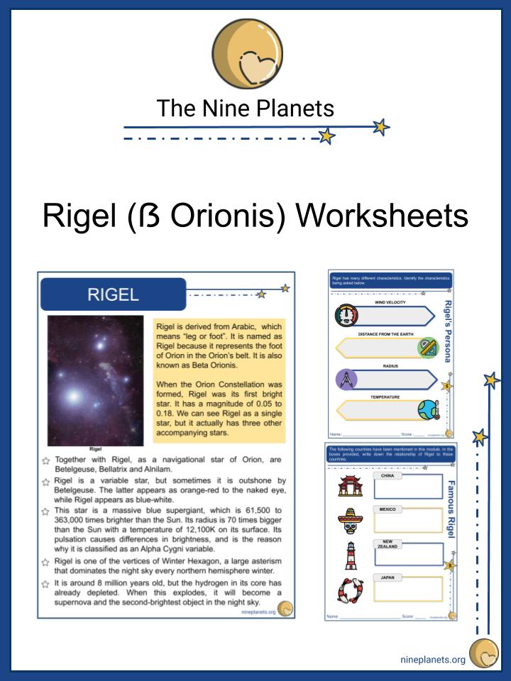 Rigel (ẞ Orionis) Worksheets