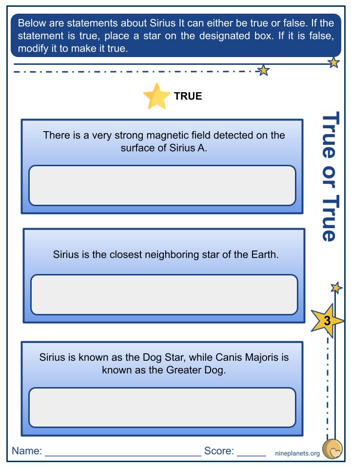 Sirius (α Canis Majoris) Worksheets (3)