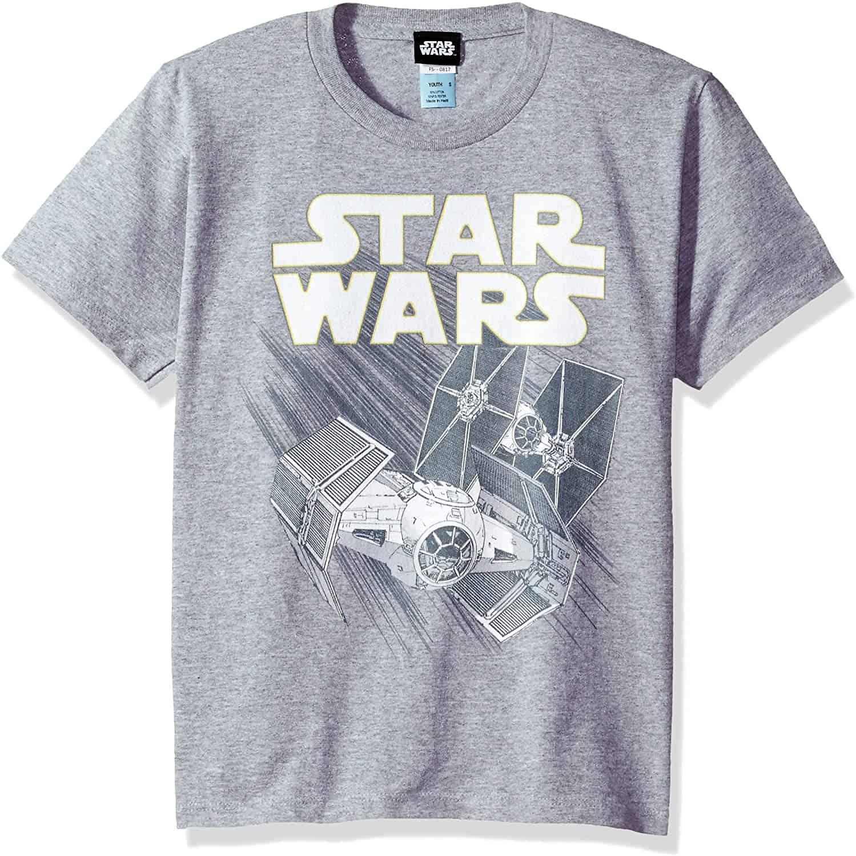 Star Wars Boys' Big Zoom Space Logo Ship Graphic Tee