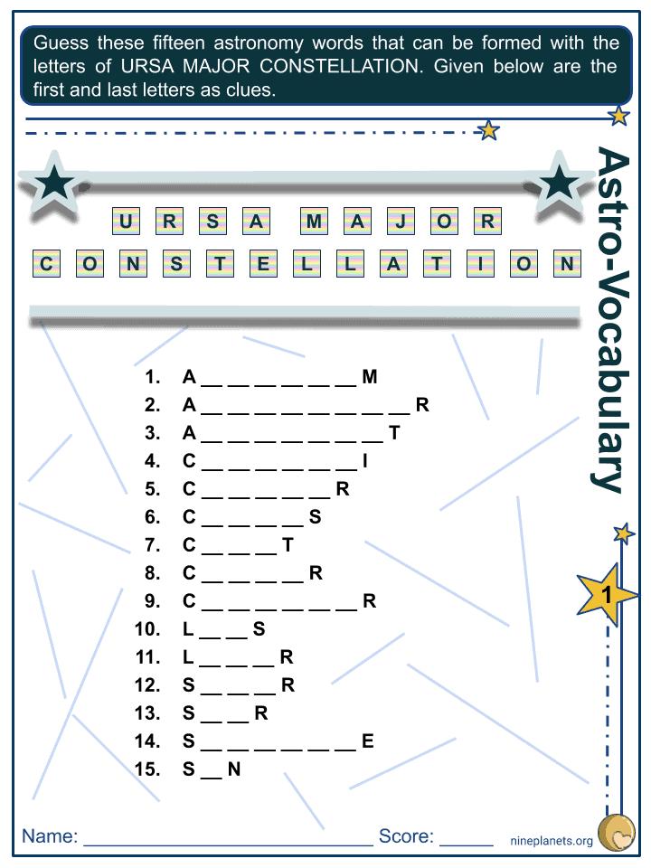 Ursa Major Constellation Worksheets (1)