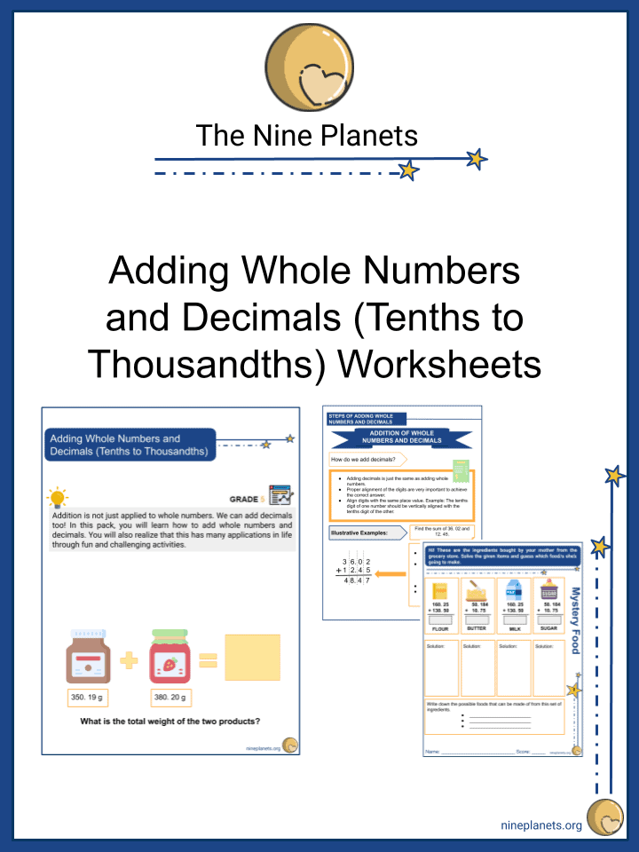 Adding Whole Numbers and Decimals (Tenths to Thousandths)