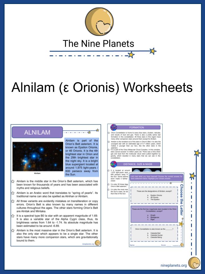 Alnilam (ε Orionis) Worksheets