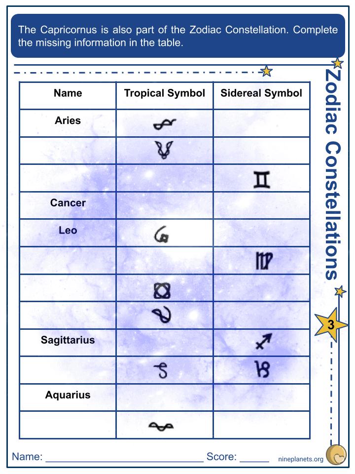 Capricornus Constellation Worksheets (3)