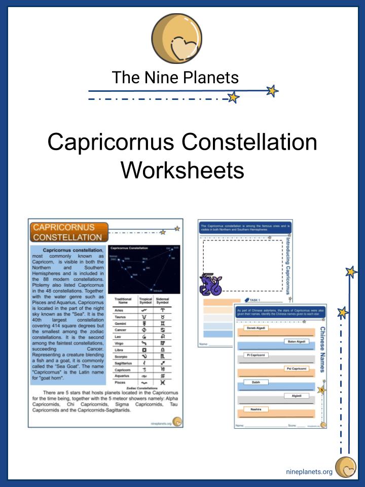 Capricornus Constellation Worksheets