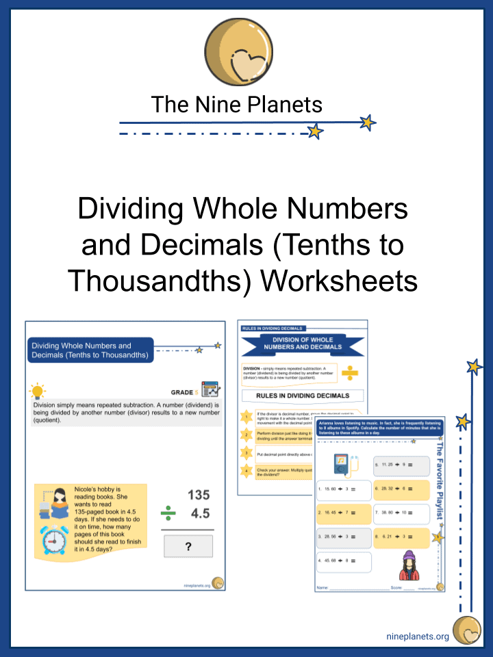 Dividing Whole Numbers and Decimals (Tenths to Thousandths)