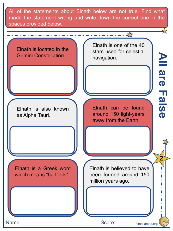 Elnath (β Tauri) Worksheets (2)