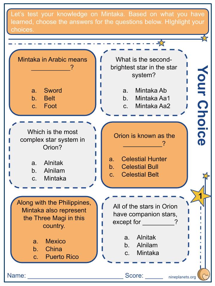 Mintaka (δ Orionis) Worksheets (1)
