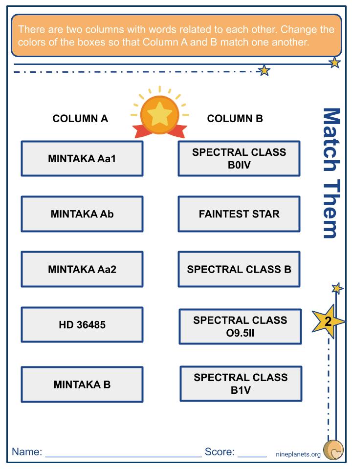 Mintaka (δ Orionis) Worksheets (2)