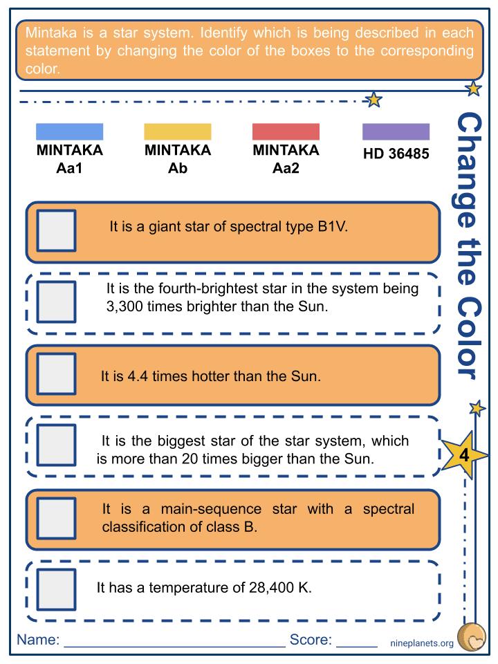 Mintaka (δ Orionis) Worksheets (4)