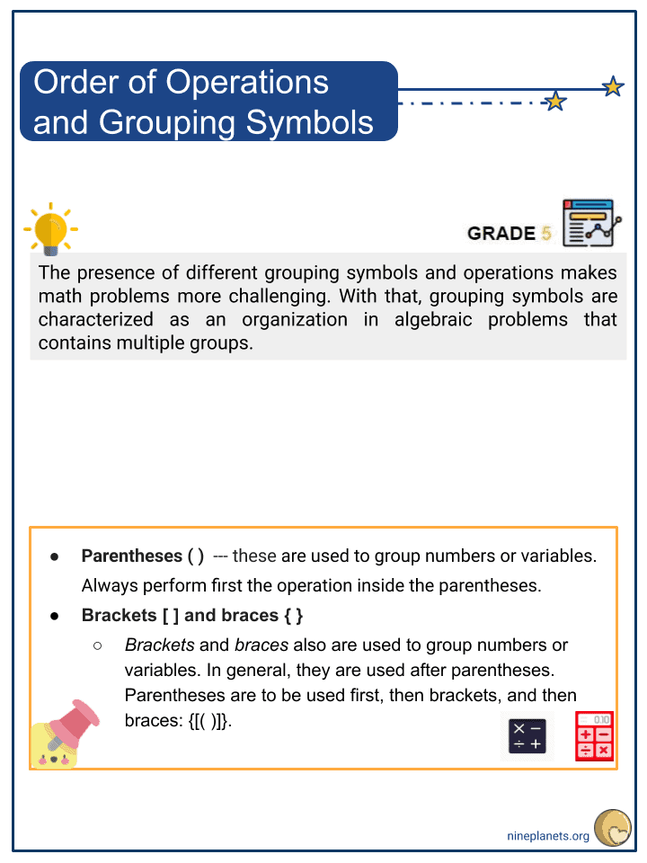 Order of Operations and Grouping Symbols (1)