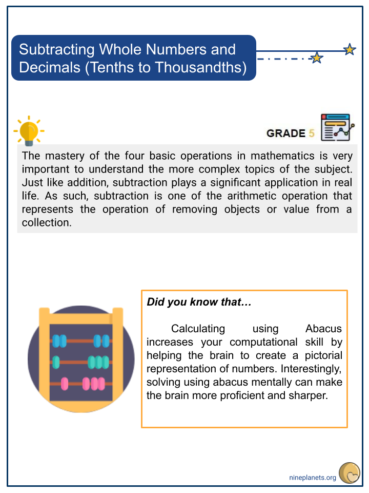Subtracting Whole Numbers and Decimals (Tenths to Thousandths) (1)