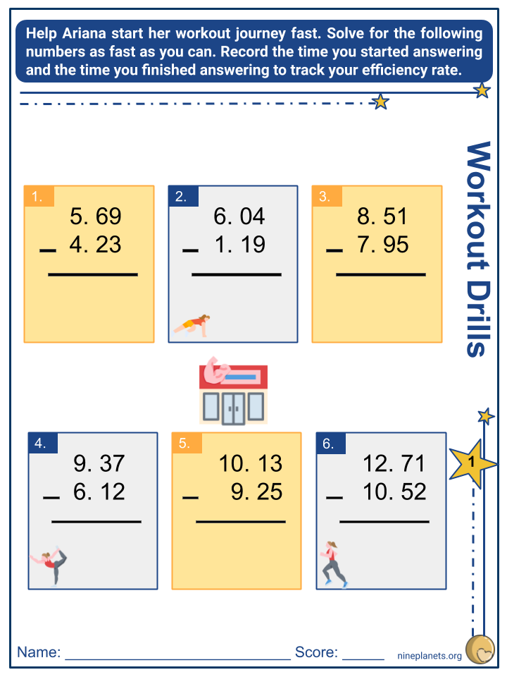 Subtracting Whole Numbers and Decimals (Tenths to Thousandths) (4)