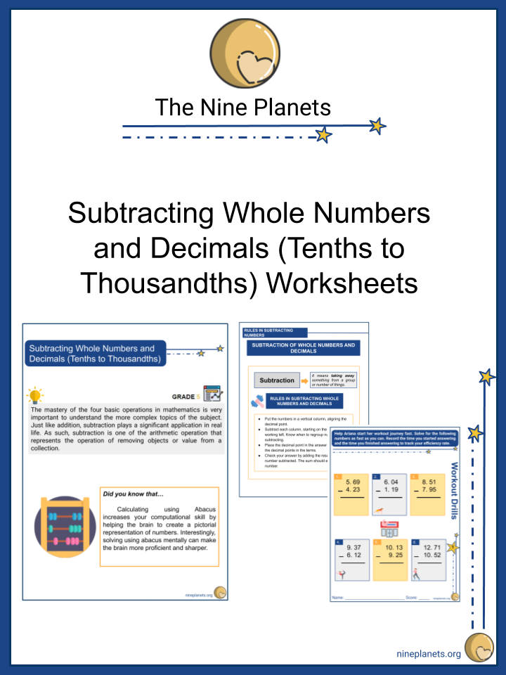 Subtracting Whole Numbers and Decimals (Tenths to Thousandths)