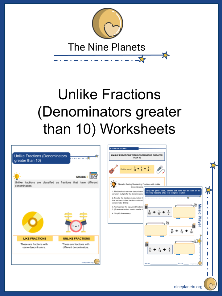 Unlike Fractions (Denominators greater than 10)